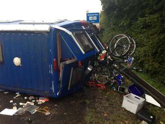 Wohnmobil Unfall A45