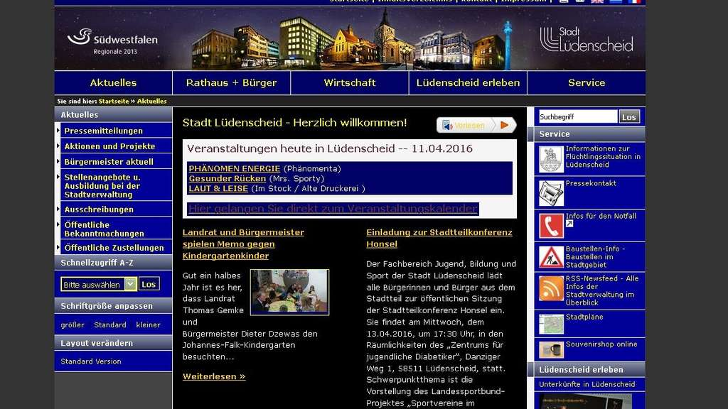 Screenshot Homepage der Stadt in Hochkontrast-Version