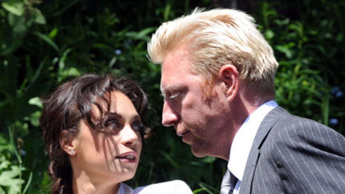 Boris Becker und Lilly Kerssenberg auf dem Weg in das Segantini Museum in St. Moritz.Dort haben sie am Freitag standesamtlich geheiratet.