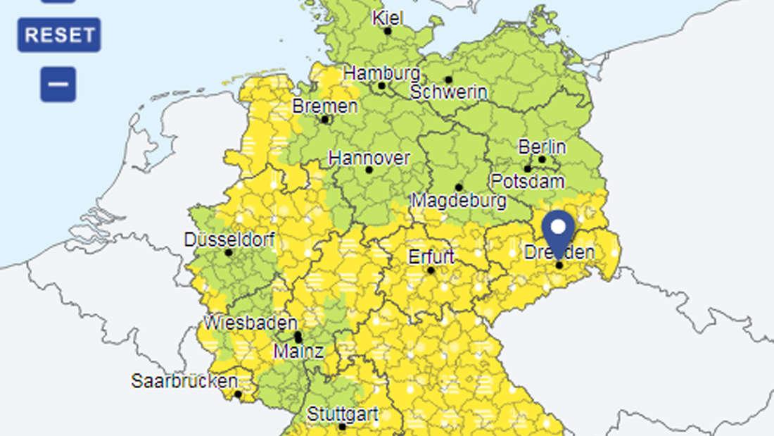 In den gelben Bereichen gilt die Warnung vor Nebel oder Frost.