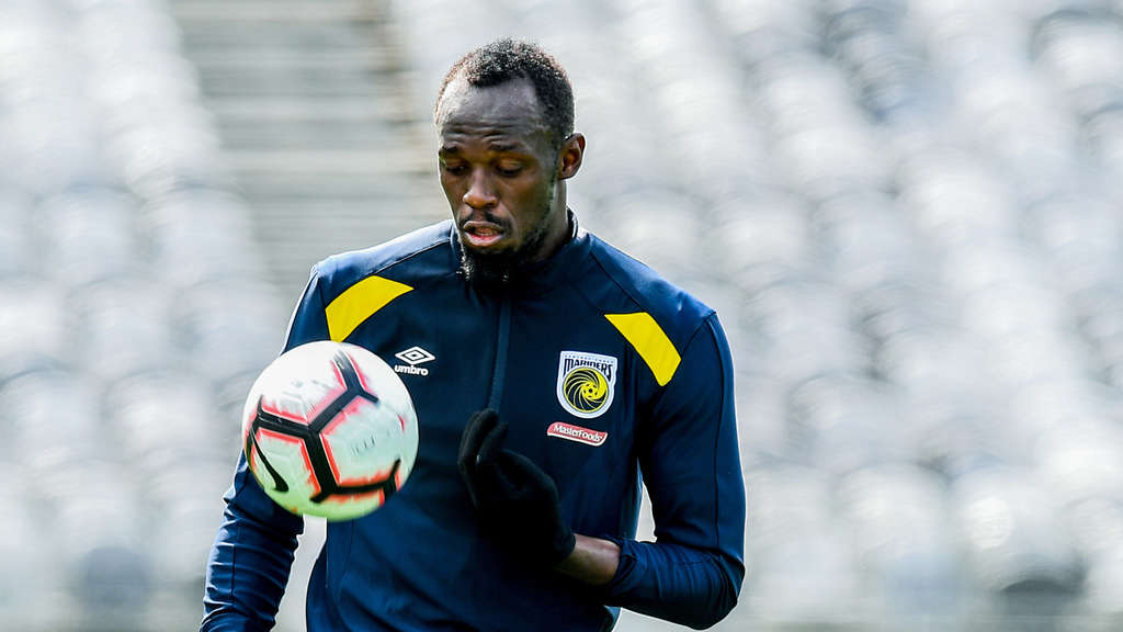 Usain Bolt beim Training der Central Coast Mariners.