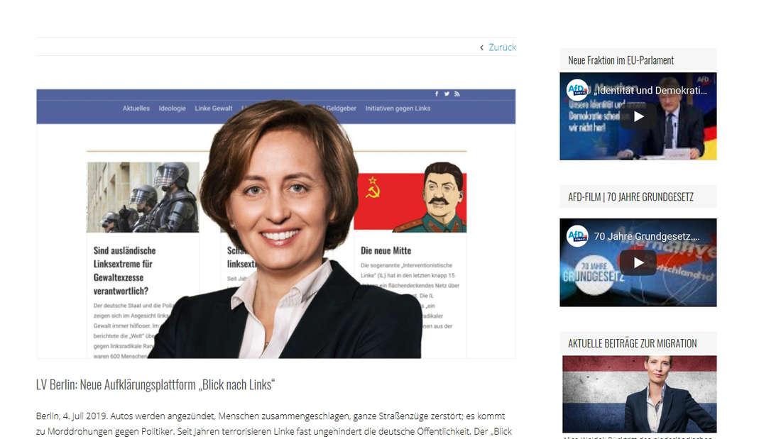 Blick auf die neue von der AfD geschaltete Internetseite: Das an Sylvester Stallone erinnernde Stalin-Bild rechts hinter Beatrix von Storch sorgt für Gesprächsstoff.