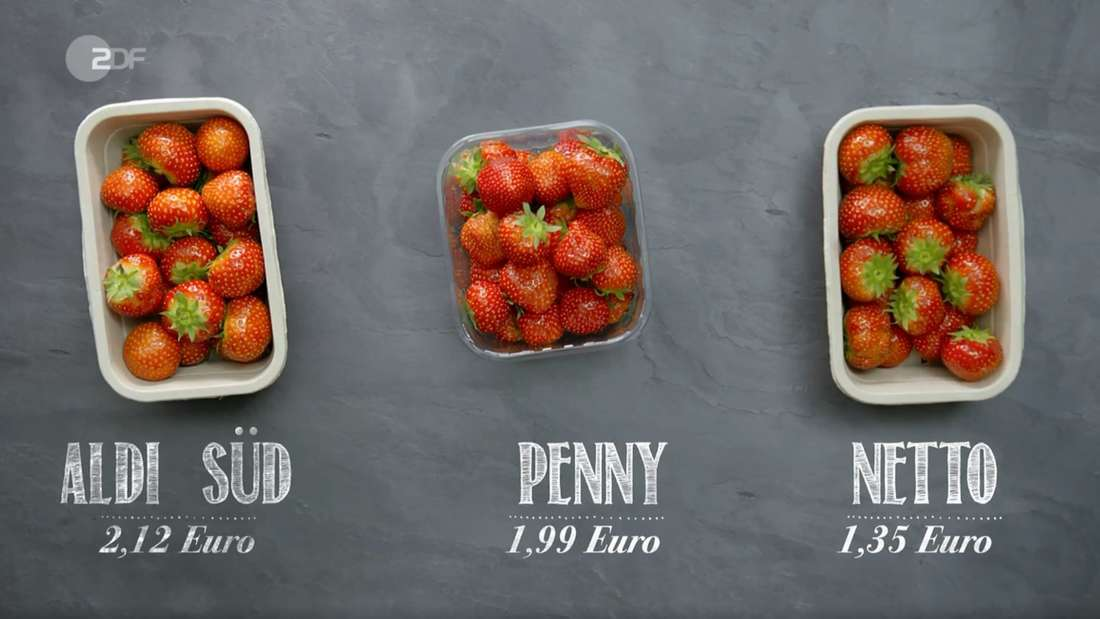 Auffällig günstig: Die Netto-Erdbeeren, angeblich aus Deutschland, kosten weitaus weniger als die bei Aldi Süd und Penny.