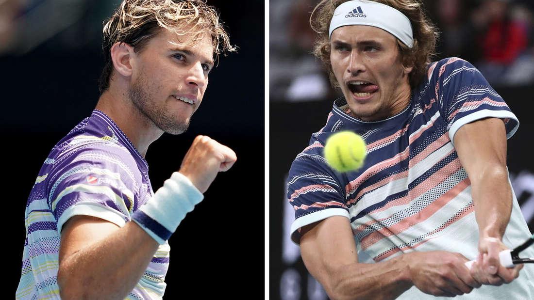 Australian Open: Dominic Thiem (l.) fordert im Halbfinale Alexander Zverev.