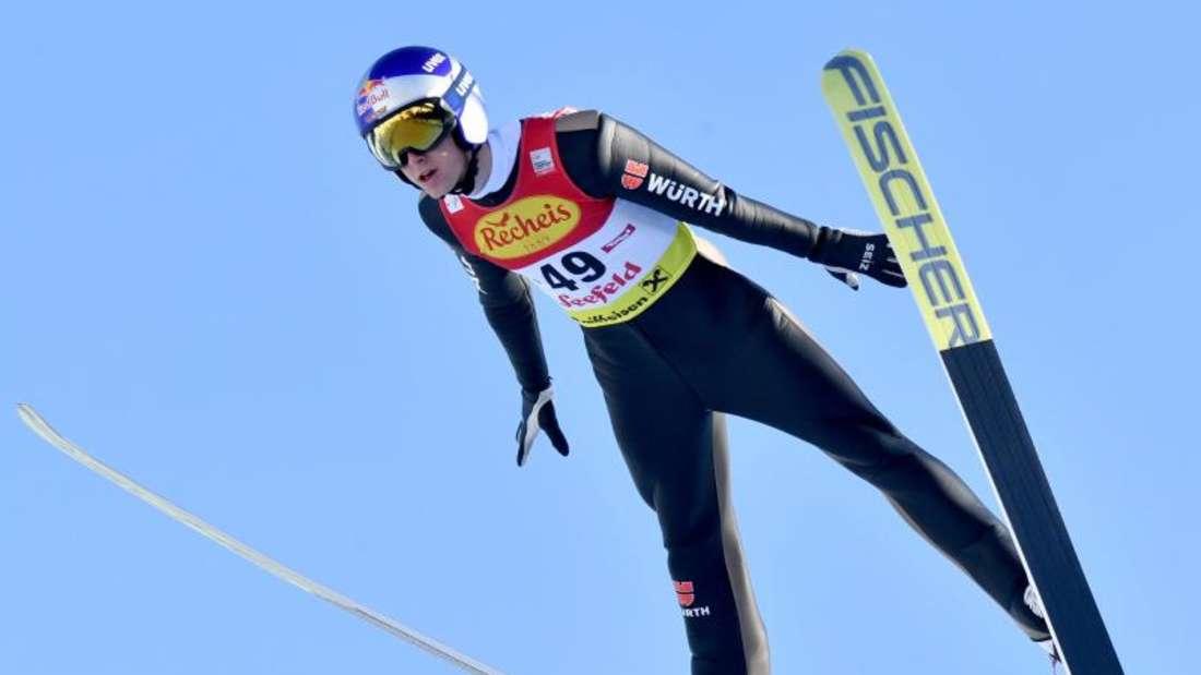 Zeigte sich beim Skispringen deutlich verbessert und wurde in Seefeld Zweiter: Vinzenz Geiger. Foto: Barbara Gindl/APA/dpa