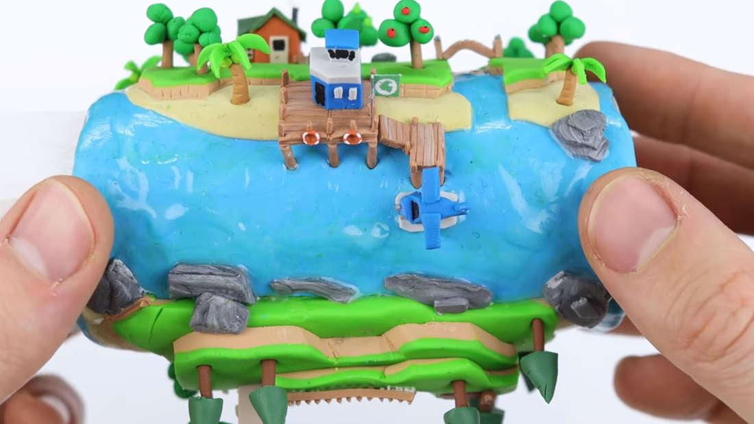 So sieht die fertige Insel von Animal Crossing: New Horizons auf der Klopapierrolle aus.