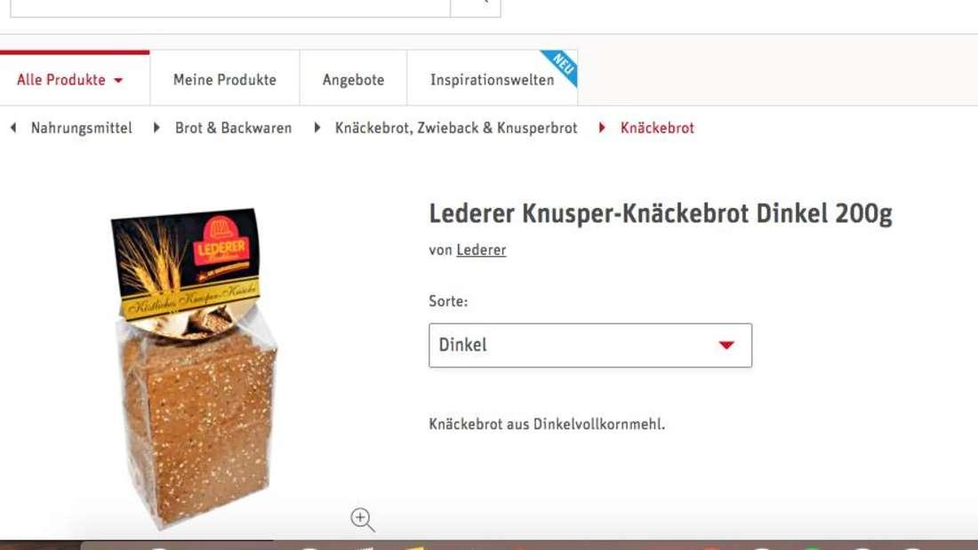 """Screenshot der Rewe Internetseite vom 29.06.2020. Man sieht das Produkt """"Köstliches Knusper-Knäcke Dinkel"""" der Firma Backhaus Lederer. Das Produkt ist von einem Rückruf betroffen."""