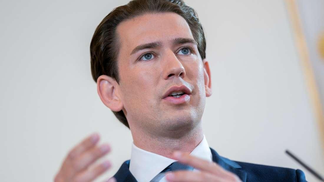 Sebastian Kurz (ÖVP), Bundeskanzler von Österreich, spricht bei einer Erklärung zum Thema «Aktuelle Lage und Ausblick auf den Herbst» im Bundeskanzleramt.