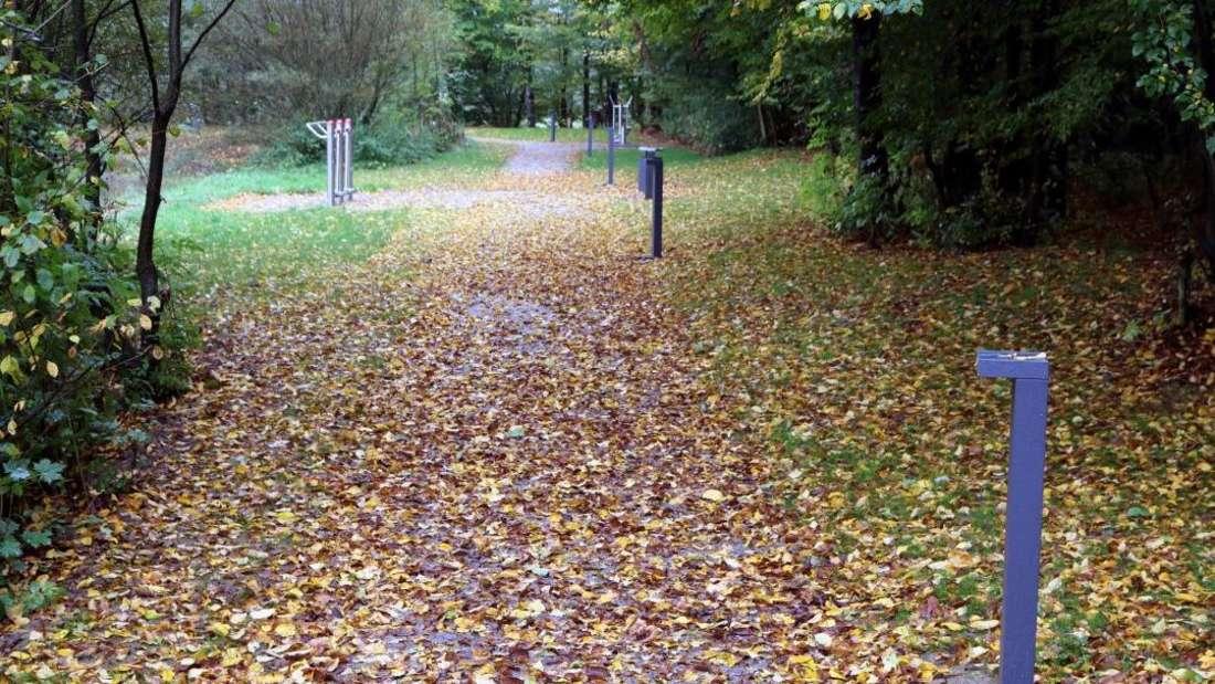 Herbstlicher Eindruck auf dem Weg rund um den Teich im Mehrgenerationenpark in Oberbrügge