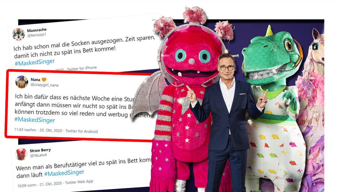 Fotomontage: rechts der Moderator neben drei der Kostüme, links drei Twitter-Screenshots