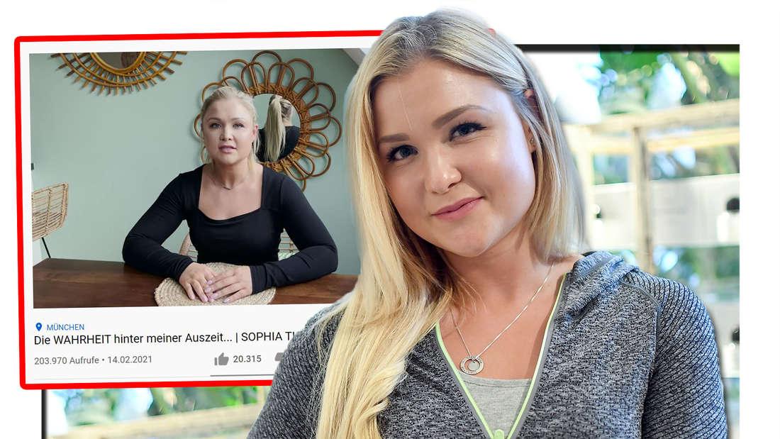 Fotomontage: Sophia Thiel neben einem Screenshot ihres Youtube-Videos