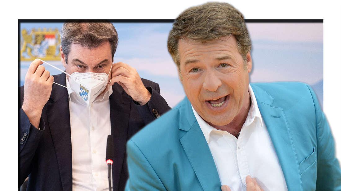 """Patrick Lindner singt bei der ARD-Musikshow """"Immer wieder sonntags"""" im Europa-Park am 12.07.2014. Markus Söder (CSU), Parteivorsitzender und Ministerpräsident von Bayern, sitzt zu Beginn einer Sitzung des bayerischen Kabinetts in der Staatskanzlei auf seinem Platz und setzt seine FFP2-Maske ab. (Fotomontage)"""