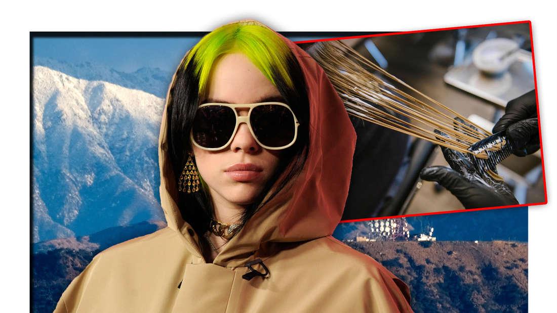 Popstar Billie Eilish steht vor den Hollywood Hills, daneben eine Frau, die sich beim Friseur die Haare färben lässt (Fotomontage)