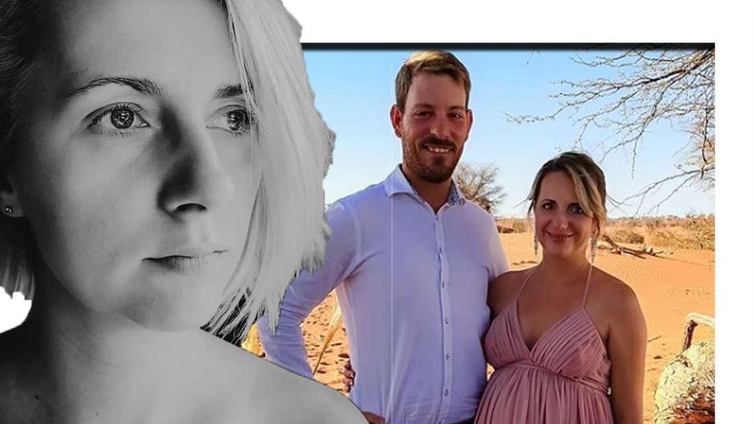 Anna Heiser schaut seitlich in die Kamera- im Hintergrund ist sie gemeinsam mit ihrem Mann zu sehen.(Fotomontage)
