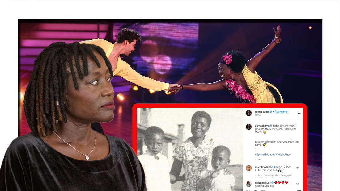 Auma Obama schaut seitlich in die Kamera - neben ihr befindet sich ein Instagram-Post (Fotomontage)