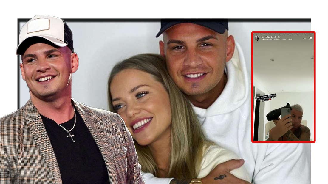 Pietro Lombardi lächelt in die Kamera - im Hintergrund ist er gemeinsam mit Laura Maria zu sehen (Fotomontage)