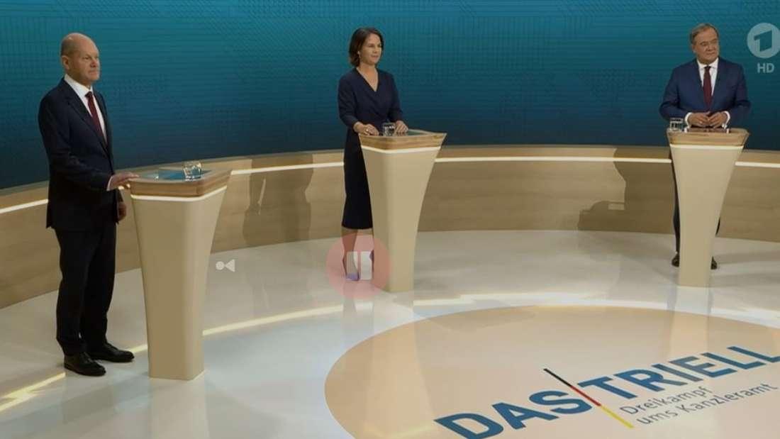Olaf Scholz (SPD), Annalena Baerbock (Grüne) und Armin Laschet (CDU) messen sich zwei Wochen vor der Bundestagswahl im Triell.