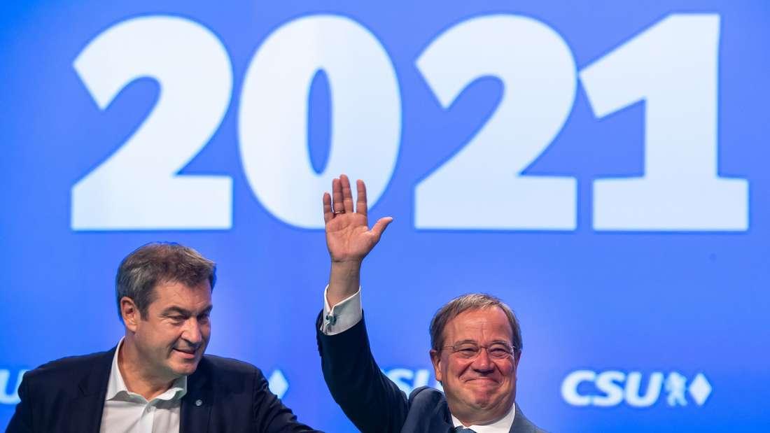 CSU-Chef Markus Söder (l) und CDU-Vorsitzender Armin Laschet