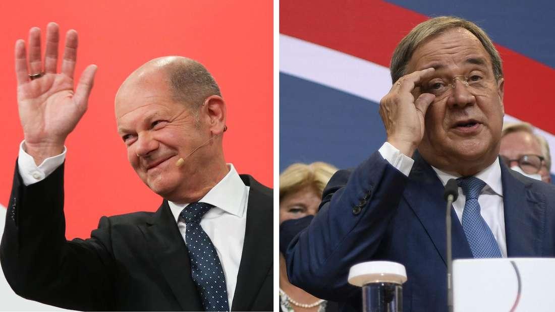 Olaf Scholz und Armin Laschet (re.) am Abend nach der Bundestagswahl.